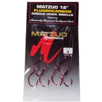"Matzuo 18"" Fluorocarbon Circle Hook Snells #2 Red Fishing Hooks Chemically Sharp"