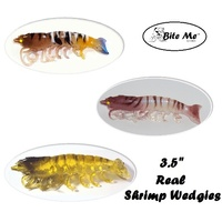 "3.5"" Bite Me Lures Real Shrimp Wedgies Wedgetail Shrimp Prawn Fishing Lures + 10ml Scent"
