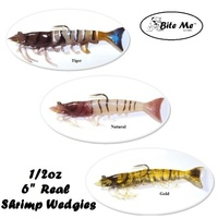 "6"" Bite Me Lures Real Shrimp Wedgies 1/2oz Rigged Wedgetail Prawn Fishing Lures + 10ml Scent"
