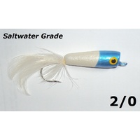 Blue & Pearl Wooden Saltwater Popper Fly Fishing Lures Flies Size 2/0