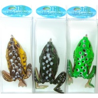 3 Soft Plastic Frog Fishing Lures 60mm Topwater Surface Lure Green Toad Cod Bass