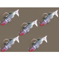 5pc Soft Plastics Vibe Poddy Mullet Lures 55mm Rigged Flathead Bream Fishing Lure