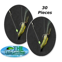 "30x LLS Rigged Prawn Shrimp Soft Plastic 4"" Glow Fishing Lure"