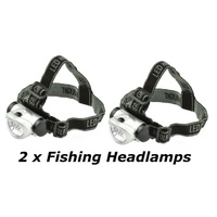 2 x 8 LED HEADLAMP NIGHT FISHING LIGHTS, Camping, Hiking Light - MITAKI-JAPAN - 8 LED