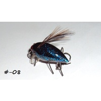 "1"" Handmade Winged Insect Fly Flies - Blue Flake-Black Brown Wings"
