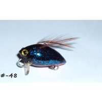 "1"" Handmade Winged Insect Fly Flies - Blue Glitter/Orange Belly/Brown"