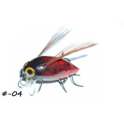 "1"" Handmade Winged Insect Fly Fishing Flies - Red/Black Brown Wings"