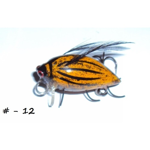 "1"" Handmade Winged Insect Fly Fishing Flies - Brown Wasp-Black Wings"