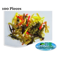 100 LLS Soft Plastic Lures Shad Yabbie Prawn Shrimp Grub Bulk Pack
