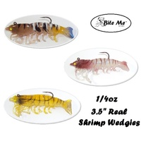 "3.5"" Bite Me Lures Real Shrimp Wedgies 1/4oz Rigged Wedgetail Prawn Fishing Lures + 10ml Scent"