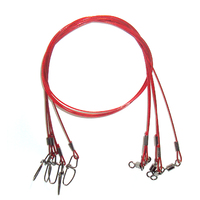 STAINLESS STEEL WIRE TRACE LEADER 50 kg Rated RED NYLON COATED SNAP SWIVEL