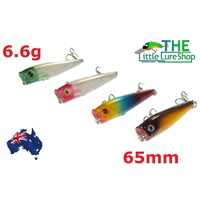 4x 65MM FISHING LURES HARDBODY WHITING POPPER BREAM FLATHEAD TOPWATER POPPERS