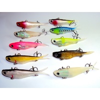 10 Soft Plastic Vibe Fishing Lures 95mm Transam Like Lures Barra Snapper Jack