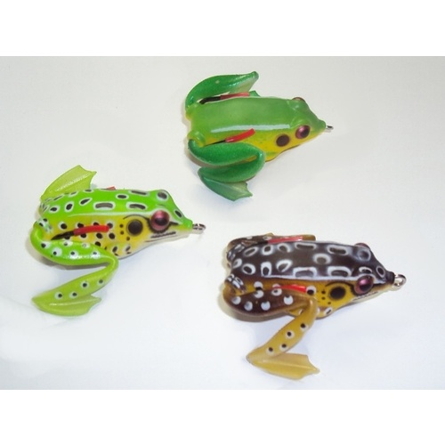 "Soft Plastic Frog Lures 2"" Topwater Surface Fishing Lure Green Toad Bass"